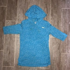 Under Armour Kids Unisex Hooded Shirt Blue Print L